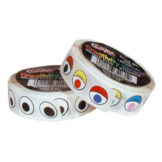 WIGGLE EYES STICKERS MULTI-COLOR  ON A ROLL 1000ct.