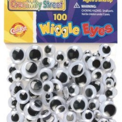 WIGGLE EYES ROUND ASST'D SIZES 100CT. BLACK