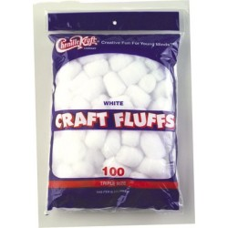 CRAFT FLUFFS  TRIPLE SIZE CREATIVITY STREET 100ct WHITE