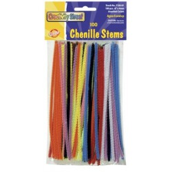 "PIPE CLEANERS (CHENILLE STEMS) 6"" 100ct. ASSORTED COLORS"
