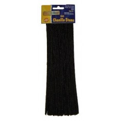 "PIPE CLEANERS (CHENILLE STEMS) 12"" 100ct. BLACK"