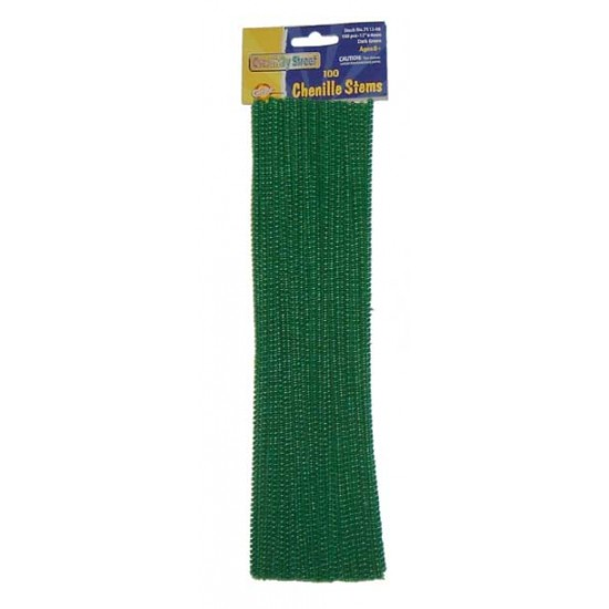 """PIPE CLEANERS (CHENILLE STEMS) 12"""" 100ct. DARK GREEN"""