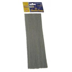 """PIPE CLEANERS (CHENILLE STEMS) 12"""" 100ct. SILVER (GRAY)"""
