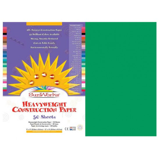 SunWorks Construction Paper Holiday Red 50 Sheets 12 x 18