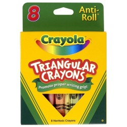 CRAYONS CRAYOLA LARGE ANTI ROLL TRIANGULAR 8 CT