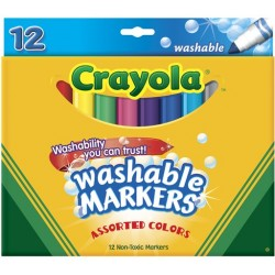 MARKERS CRAYOLA WASHABLE CLASSIC BROAD ASST'D 12's