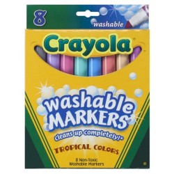 MARKERS CRAYOLA WASHABLE TROPICAL BROAD 8's