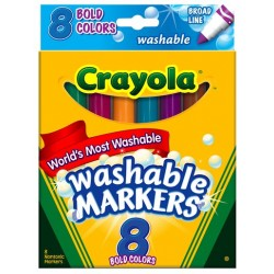 MARKERS CRAYOLA WASHABLE BOLD  BROAD  8'S