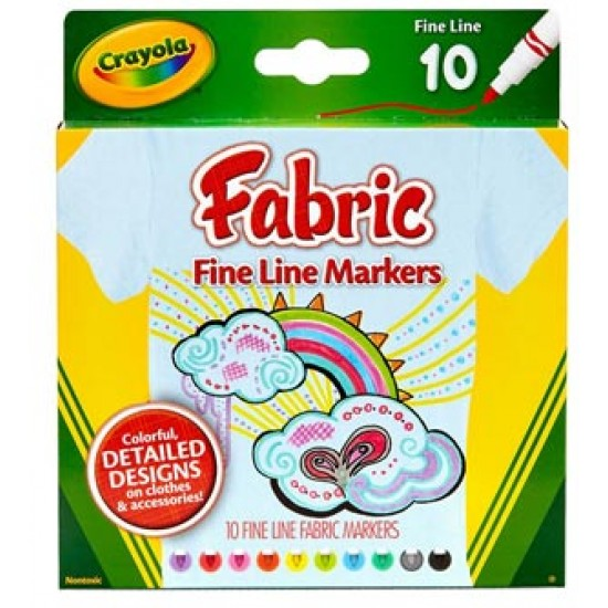 MARKERS CRAYOLA FABRIC FINELINE 10ct