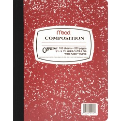 "COMPOSITION BOOKS MARBLE COVER COLORS 9 3/4"" X 7 1/2"" 100 ct."