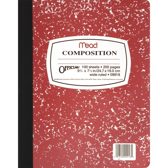 """COMPOSITION BOOKS MARBLE COVER COLORS 9 3/4"""" X 7 1/2"""" 100 ct."""