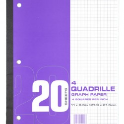 GRAPH PAPER 4SQ/INCH 20CT 3 HOLE PUNCHED