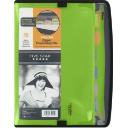FILES POLY 7 POCKET ZIPPERED FIVE STAR WITH COLOR TABS