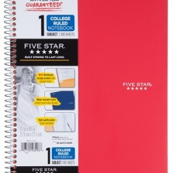 THEMEBOOK SPIRAL FIVE-STAR 1 SUBJECT 100 ct. COLLEGE RULED
