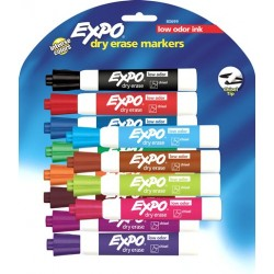 MARKERS DRY ERASE EXPO LOW ODOR CHISELTIP BROAD 12 COLOR