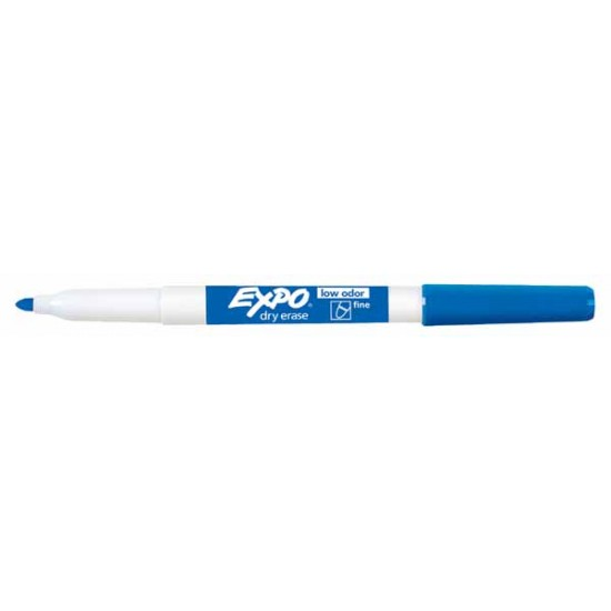 MARKERS DRY ERASE EXPO LOW ODOR FINE  BLUE 12CT
