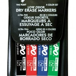 MARKERS DRY ERASE EXPO LOW ODOR FINE  4 COLOR SET