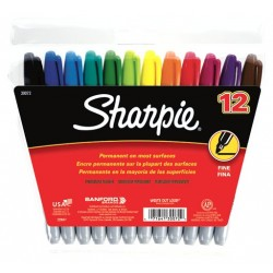 MARKERS SHARPIE PERMANENT FINE TIP 12 COLOR SET